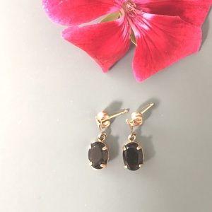 Jewelry - 14k gold smoky quartz dangling earrings